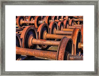 Rusty Railroad Car Wheelsets Framed Print by Clarence Holmes