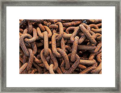 Rusty Ships Chain Framed Print by Garry Gay