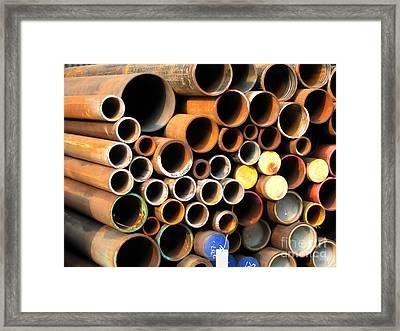 Rusty Steel Pipes Framed Print by Yali Shi