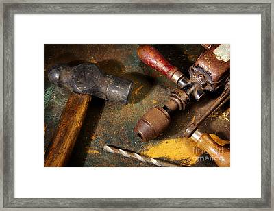 Rusty Tools Framed Print by Carlos Caetano