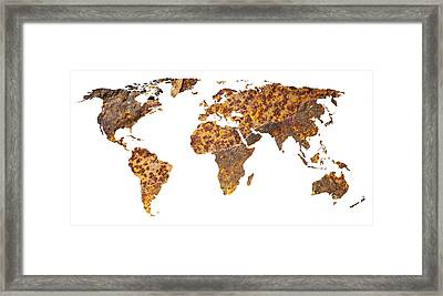 Rusty World Map Framed Print