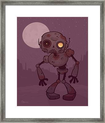 Rusty Zombie Robot Framed Print by John Schwegel