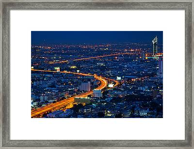 S Curve At Bangkok City Night Scene Framed Print by Arthit Somsakul