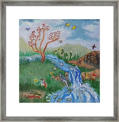 S Is For Stream Detail From Childhood Quilt Painting Framed Print