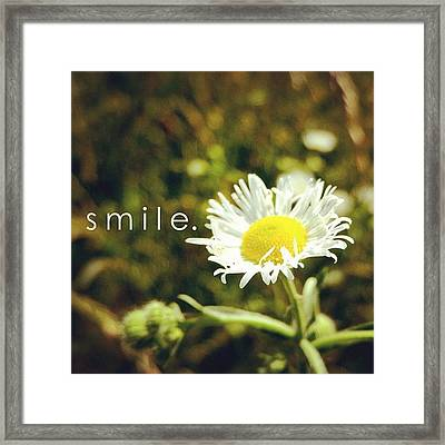S M I L E. Simple Picture, Simple Framed Print