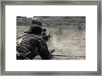 .s. Navy Quartermaster Fires His 5.56mm Framed Print