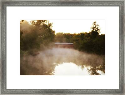 Sachs Covered Bridge In The Mist Framed Print by Bill Cannon