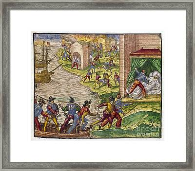 Sack Of Cartagena, C1544 Framed Print by Granger