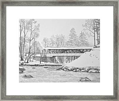 Saco River Bridge Framed Print by Tim Murray