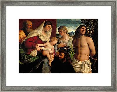 Sacra Conversatione With Ss Catherine Sebastian And Holy Family Framed Print by Sebastiano de Piombo