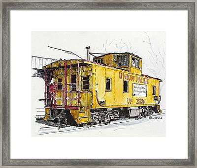 Framed Print featuring the painting Sacramento Caboose by Terry Banderas
