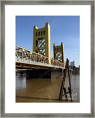 Sacramento California Tower Bridge Crossing The Sacramento Delta River . 7d11452 Framed Print by Wingsdomain Art and Photography