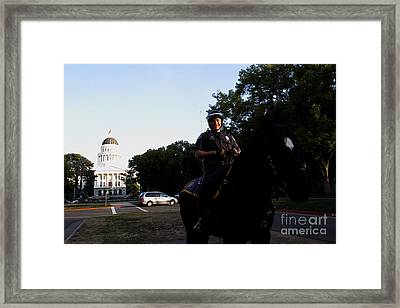 Sacramento Police Mounted Association Horse Patrol At The California State Capitol . Spma . 7d11785 Framed Print by Wingsdomain Art and Photography