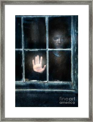 Sad Person Looking Out Window Framed Print