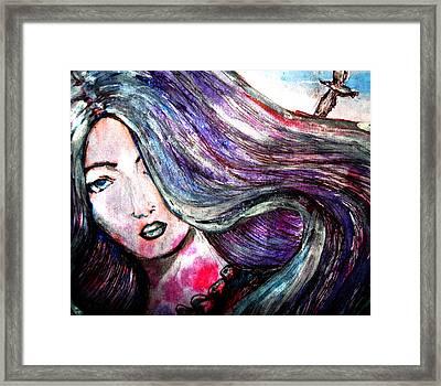 Sad Woman Eyes Framed Print by Vesna Disic