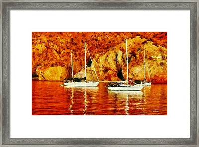 Safe Habor At Sunset Framed Print by Russ Harris