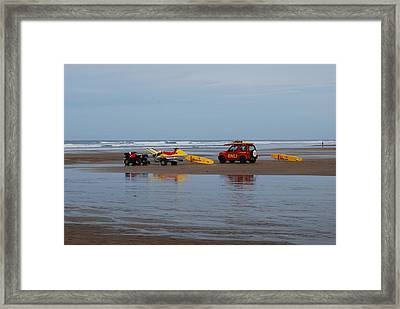 Framed Print featuring the photograph Safe On The Beach by Lynn Hughes