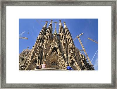 Sagrada Familia - Impressive Church From Gaudi In Barcelona Framed Print by Matthias Hauser