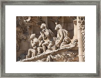 Sagrada Familia Barcelona Nativity Facade Detail Framed Print by Matthias Hauser