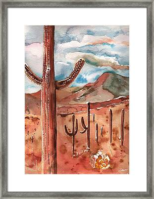 Framed Print featuring the painting Saguaro Cactus by Sharon Mick