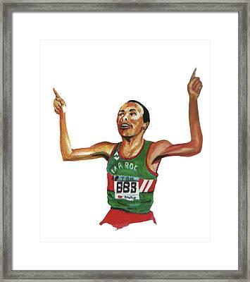 Said Aouita Framed Print by Emmanuel Baliyanga
