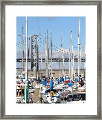 Sail Boats At San Francisco China Basin Pier 42 With The Bay Bridge In The Background . 7d7683 Framed Print