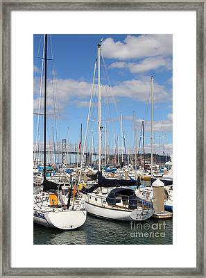 Sail Boats At San Francisco China Basin Pier 42 With The Bay Bridge In The Background . 7d7685 Framed Print by Wingsdomain Art and Photography