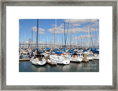 Sail Boats At San Francisco China Basin Pier 42 With The Bay Bridge In The Background . 7d7688 Framed Print by Wingsdomain Art and Photography