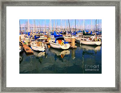 Sail Boats At San Francisco's Pier 42 . Dark Version Framed Print by Wingsdomain Art and Photography