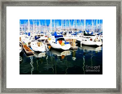 Sail Boats At San Francisco's Pier 42 . Electrified Framed Print