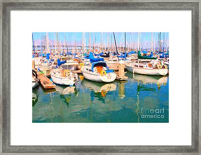 Sail Boats At San Francisco's Pier 42 Framed Print by Wingsdomain Art and Photography