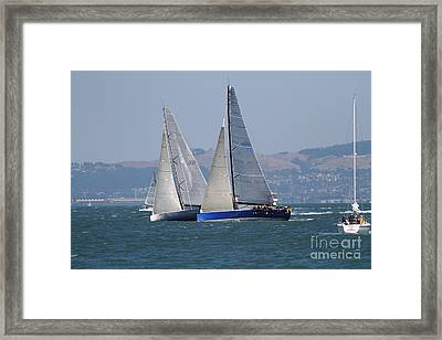 Sail Boats On The San Francisco Bay - 7d18323 Framed Print by Wingsdomain Art and Photography