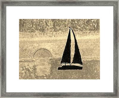 Sail In Sepia Sea Framed Print by Sonali Gangane