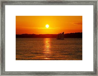 Sail Off Into The Sunset Framed Print by Andrew Pacheco