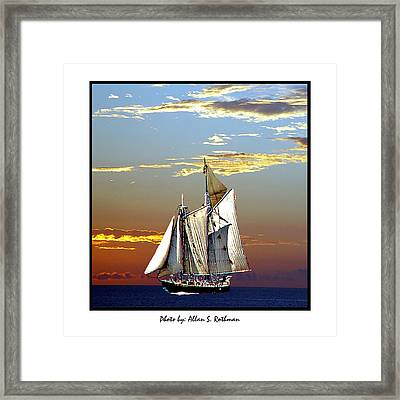 Sailbat At Dusk Framed Print