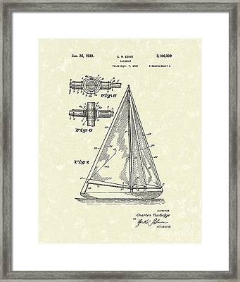 Sailboat 1938 Patent Art Framed Print by Prior Art Design