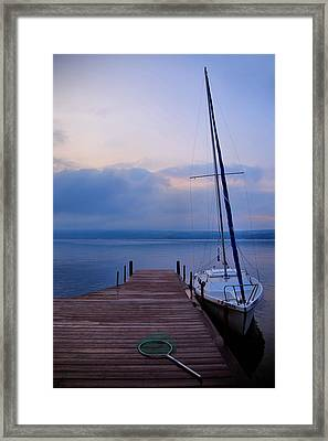 Sailboat And Dock Framed Print by Steven Ainsworth