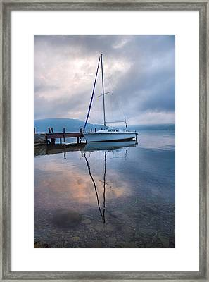 Sailboat And Lake I Framed Print by Steven Ainsworth