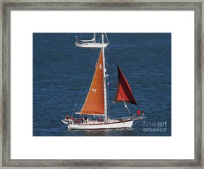 Sailboat In The San Francisco Bay . 7d7881 Framed Print by Wingsdomain Art and Photography