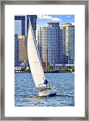 Sailboat In Toronto Harbor Framed Print by Elena Elisseeva