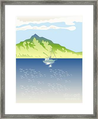 Sailboat Mountains Retro Framed Print by Aloysius Patrimonio