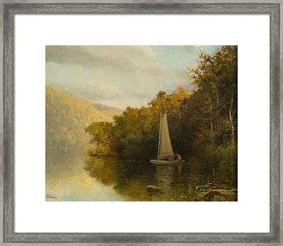Sailboat On River Framed Print by Arthur Quarterly