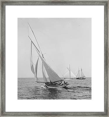 Sailboat Papoose 1887 Bw Framed Print
