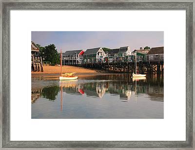 Sailboats And Harbor Waterfront Reflections Framed Print