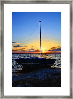 Sailboats And Sunsets Framed Print