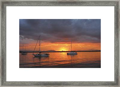 Sailboats At Anchor Framed Print by Anne Mott
