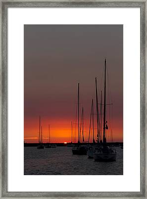 Sailboats At Sunrise Framed Print