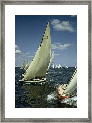 Sailboats Cross A Starting Line Framed Print by B. Anthony Stewart