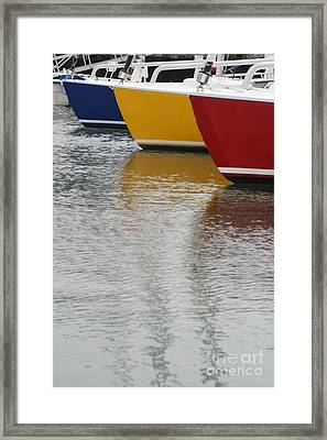 Sailboats In Primary Colors Framed Print by Julie Bostian