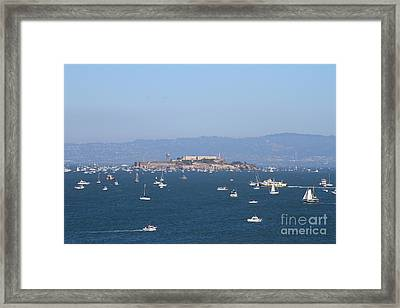 Sailboats In The San Francisco Bay Overlooking Alcatraz . 7d7862 Framed Print